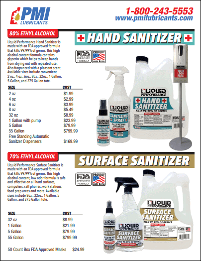 Hand and Surface Sanitizers - PMI Lubricants VA